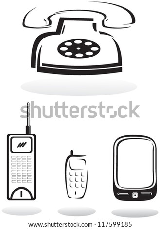 Telephones of different times on a white background