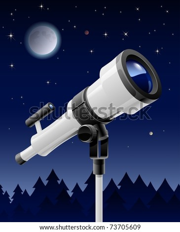 telescope on support vector illustration isolated on sky background