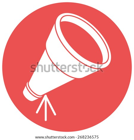 Telescope, silhouette, vector illustration, isolated on white background