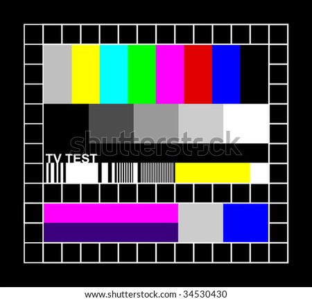 Television colored graphic signal. Test signal at the introduction and the end of the TV programming. - stock vector