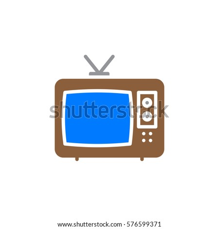 Television Icon Vector Filled Flat Sign Stock Vector 576599371