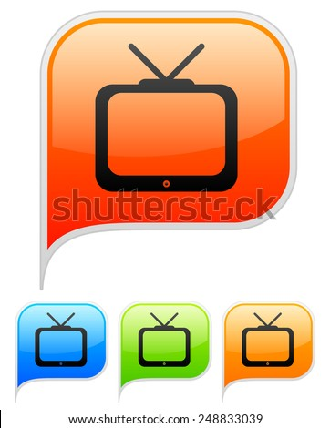 Television icons - stock vector