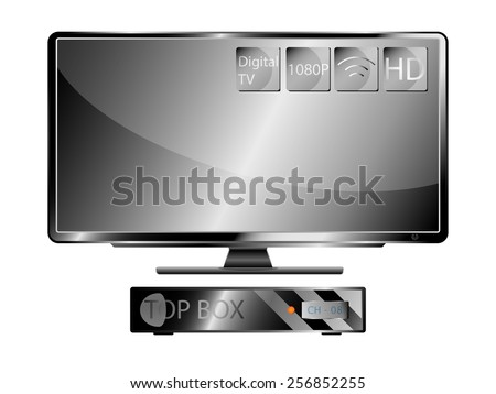 Television Wide screen and Top Box