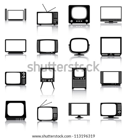 Televisions - 16 icons/ silhouettes of retro and modern televisions. - stock vector