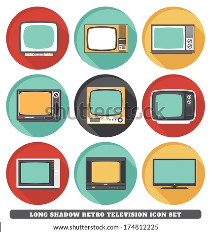 Televisions - Long Shadow Retro Icon Set - stock vector