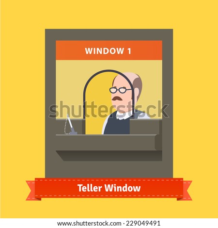 Teller window with a working cashier as a bald man with glasses and moustache. Flat illustration. EPS 10 vector. - stock vector