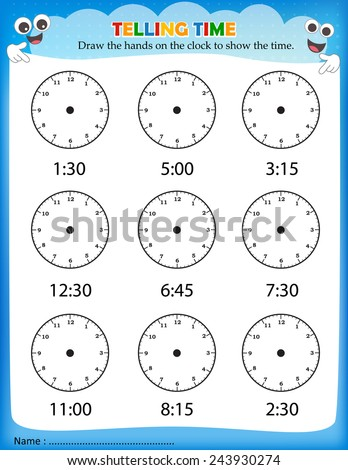 Telling Time Worksheet Pre School Kids Stock Vector 243930274 ...