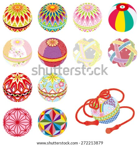 Temari -Japanese traditional toys, isolated on white background. - stock vector