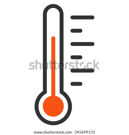 Temperature Level vector icon. Style is bicolor flat symbol, orange and gray colors, rounded angles, white background.