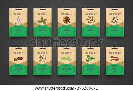 Template a set of bags with spices. Hand drawn - stock vector