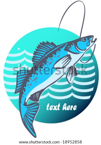 Template about fishing - stock vector