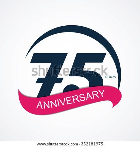 Template 75 Anniversary Vector Illustration EPS10 - stock vector