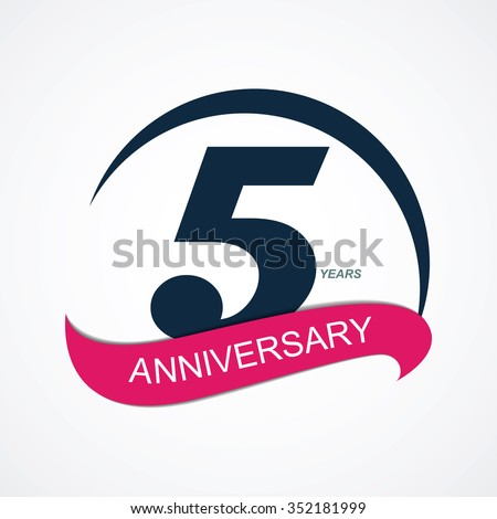 Template 5 Anniversary Vector Illustration EPS10 - stock vector