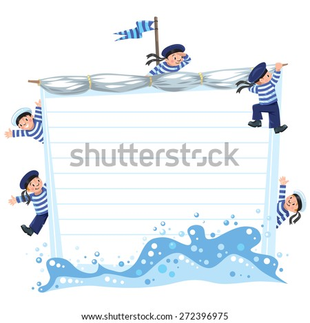 Template background with banner in the shape of a sail with a team of Jolly boys-sailors in vests and sailor hats - stock vector