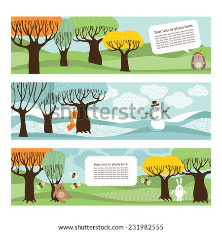 Template banner or postcard with stylized trees and animals. - stock vector