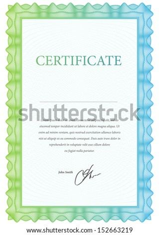 Template blank certificate, diplomas and currency. Vector illustration