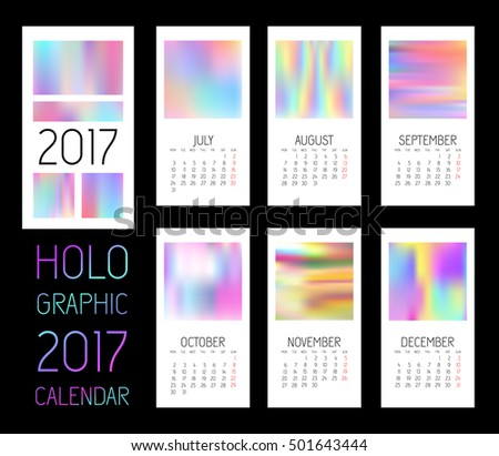 Template Blank Wall Calendar 2017 Six Stock Vector 501643444
