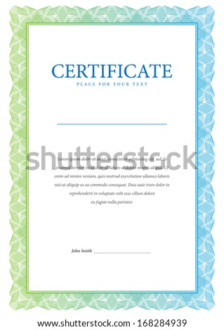 Template border diplomas, certificate and currency. Vector illustration