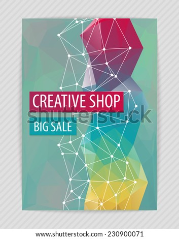 Template bright creative design for flyer with white grid, colorful figure, polygonal backdrop. Proportionally: A4