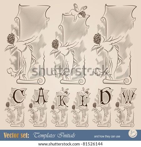 template capitals and initials in the vintage style for decoration and design - stock vector