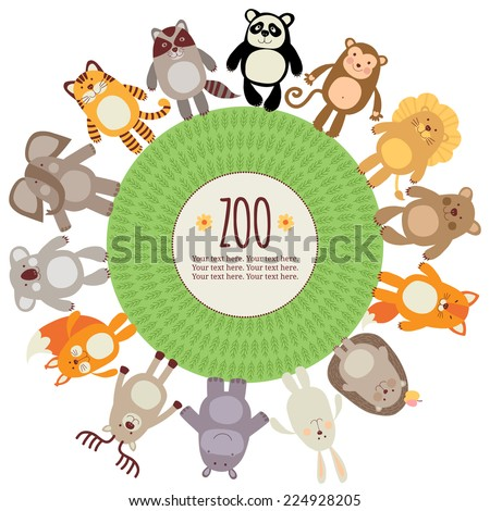 Template card or banner with wild animals. Zoo. - stock vector