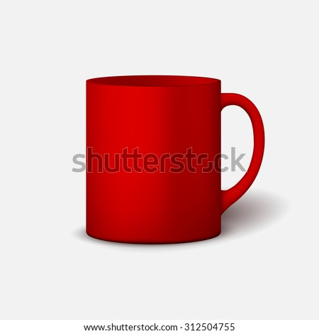 Template ceramic clean bright red mug with a matte effect, without the bright glare, isolated on a white background