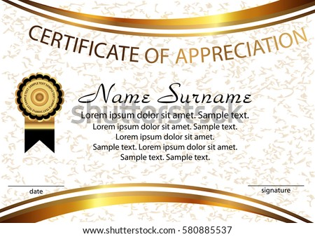 template certificate of appreciation elegant background winning the competition reward vector illustration