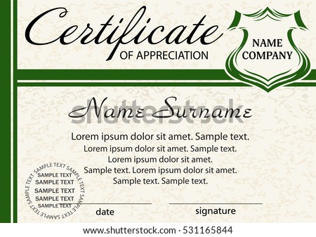 Template Certificate Appreciation Elegant Green Design Stock Vector