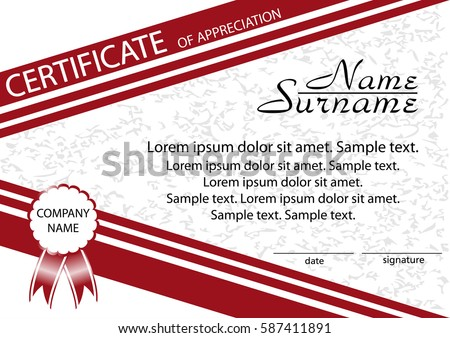 Template certificate appreciation winning competition reward stock template certificate of appreciation winning the competition reward vector illustration yelopaper Gallery