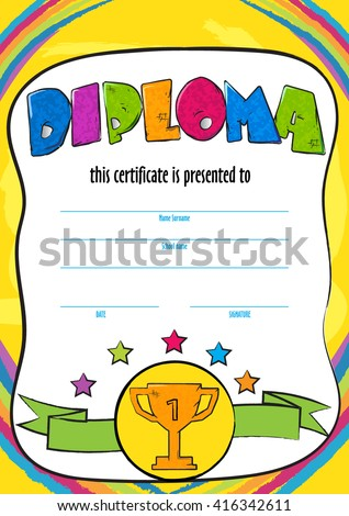Template child certificate be awarded kindergarten stock vector template child certificate to be awarded kindergarten preschool kids diploma design template vector for yadclub Image collections
