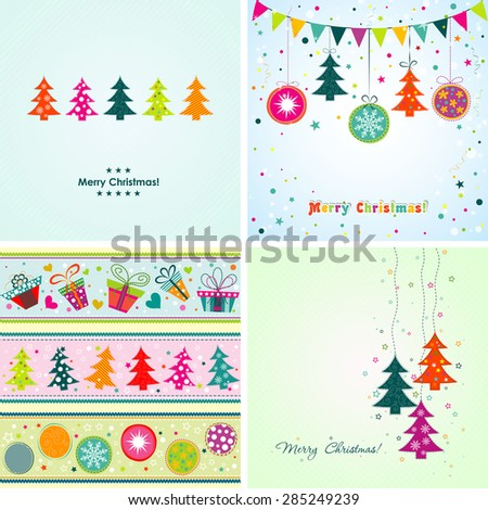 Template Christmas greeting card, ribbon, packaging tape, vector illustration