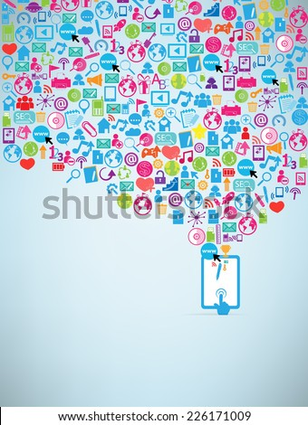 Template computer idea with social network icons background  - stock vector