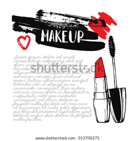 Template cosmetic card. Hand drawn illustration. Cosmetics and makeup. Lipstick and mascara. Calligraphy. Ink. Lettering. Sketch. Inscription. Brushstroke with rough edges.