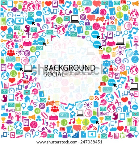 Template design Businessman thinking idea with social network icons background - stock vector