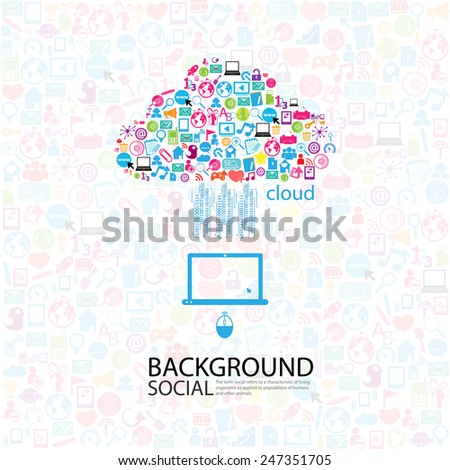 Template design cloud idea with social network icons background - stock vector