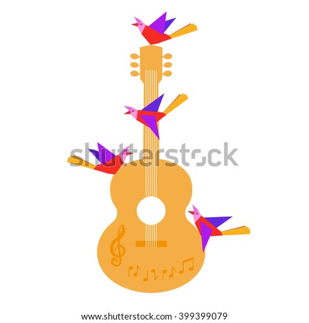 Template Design Poster with acoustic guitar, clef, notes, birds. Idea for Live Music Festival background, spring show. Musical Festivals promotion,  club concert advertisement. Vector illustration. - stock vector