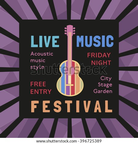 Template Design Poster with acoustic guitar silhouette. Idea for Live Music Festival, music show with guitar. Musical Festivals promotion,  advertisement. Vector illustration. - stock vector