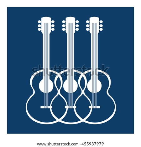 Template Design Poster with acoustic guitar silhouettes. Idea for Live Music Festival, show, entertainment background. Musical concert promotion,  advertisement poster, banner. Vector illustration. - stock vector