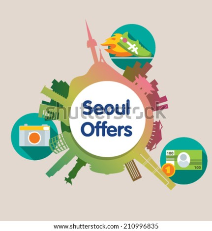 Template design vector poster for travel. Seoul. - stock vector