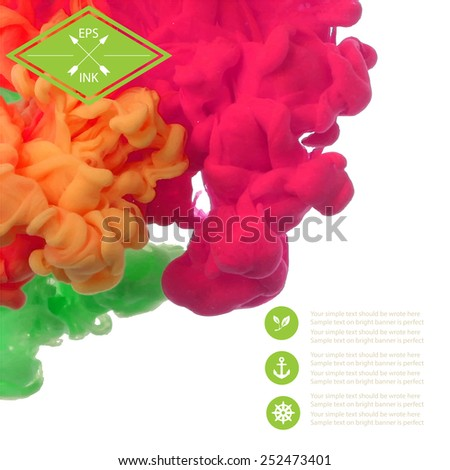 Template design with vector isolated cloud of ink on white. Splashes of paint. Texture of ink, paint in water - stock vector
