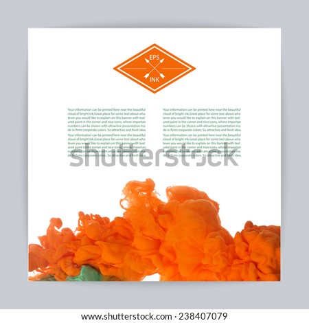 Template design with vector isolated cloud of orange ink swirling in water on white background. Texture of splashes of paint, ink. - stock vector