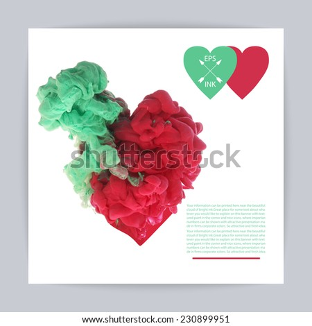 Template design with vector isolated cloud of red and green ink in the form of heart on white. Splashes of paint. Texture of ink, paint in water - stock vector