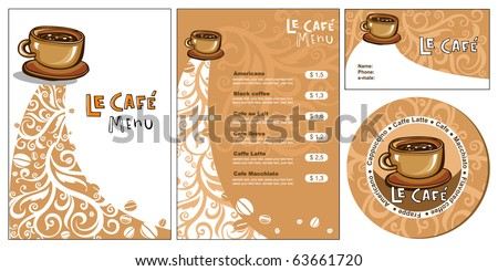 Template designs of menu and business card for cof - stock vector