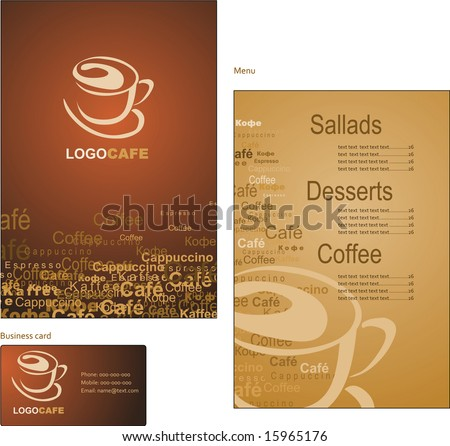 Template designs of menu and business card for coffee shop and restaurant - stock vector