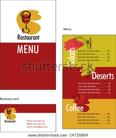 Template designs of menu and business card for restaurant or coffee shop - stock vector