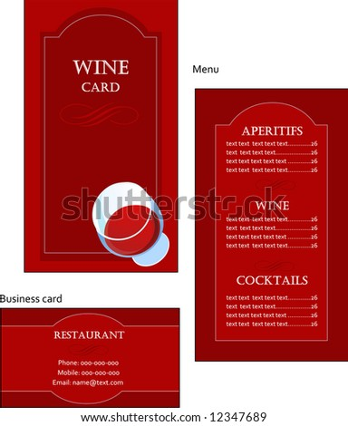 Template designs of wine menu and business card for coffee shop and restaurant, vector file include - stock vector