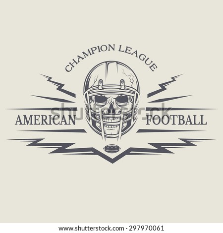 Template emblems American football with a skull wearing a helmet. - stock vector