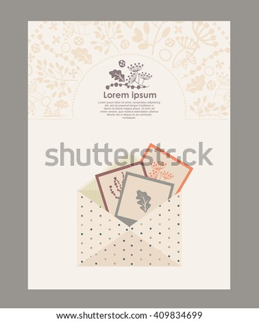 template envelope and  letterhead. note papers & scrapbook elements - stock vector