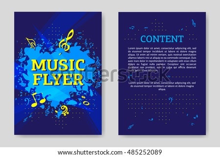 Template flyer design. Creative graphic illustration. Concept of brochure, card or magazine. Music flyer.