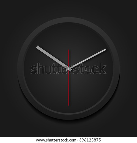 Template for advertising and corporate identity. Modern round clock. Blank mockup for design. Vector black object